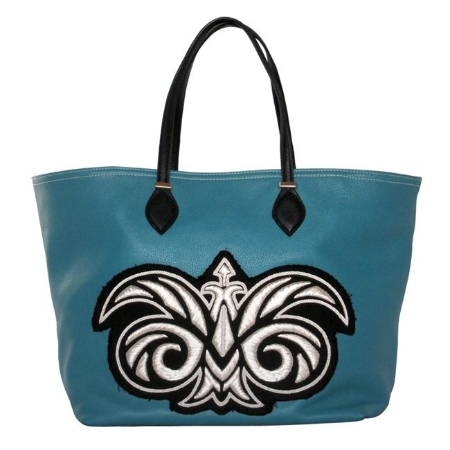 Sac cabas cuir turquoise